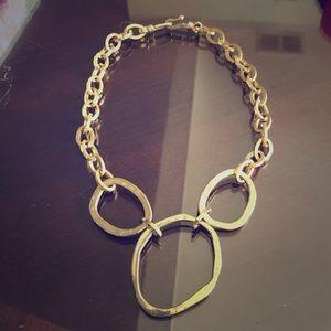Vintage Gold Hammered Link Necklace
